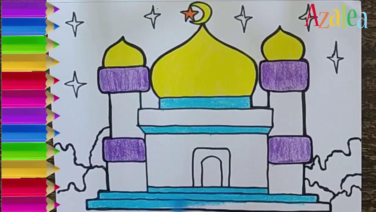 Menggambar Masjid Untuk Anak Sd Dan Tk Youtube
