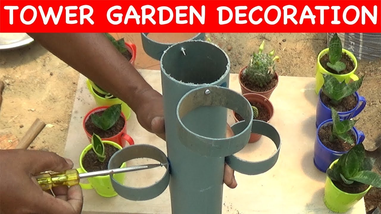 How to make Tree pot TOWER using plastic pipe (with english subtitles)  sc 1 st  YouTube & How to make Tree pot TOWER using plastic pipe (with english ...