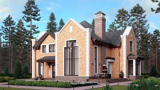 Проект дома с эркером и террасой. Дом в английском стиле из кирпича. Ремстройсервис М-368