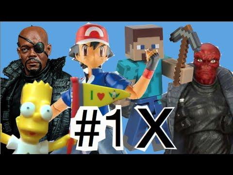 #1 Abrindo Nick Fury SHIELD Marvel Bart Simpsons  Ash Pokemon Steve Minecraft X   Caveira Vermelha