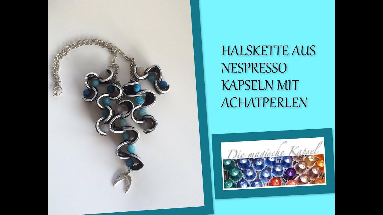 Diy halskette aus nespresso kapseln mit achatperlen for Nespresso professional kapseln