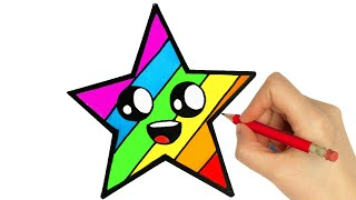 HOW TO DRAW AND COLORING A STAR EASY STEP BY STEP