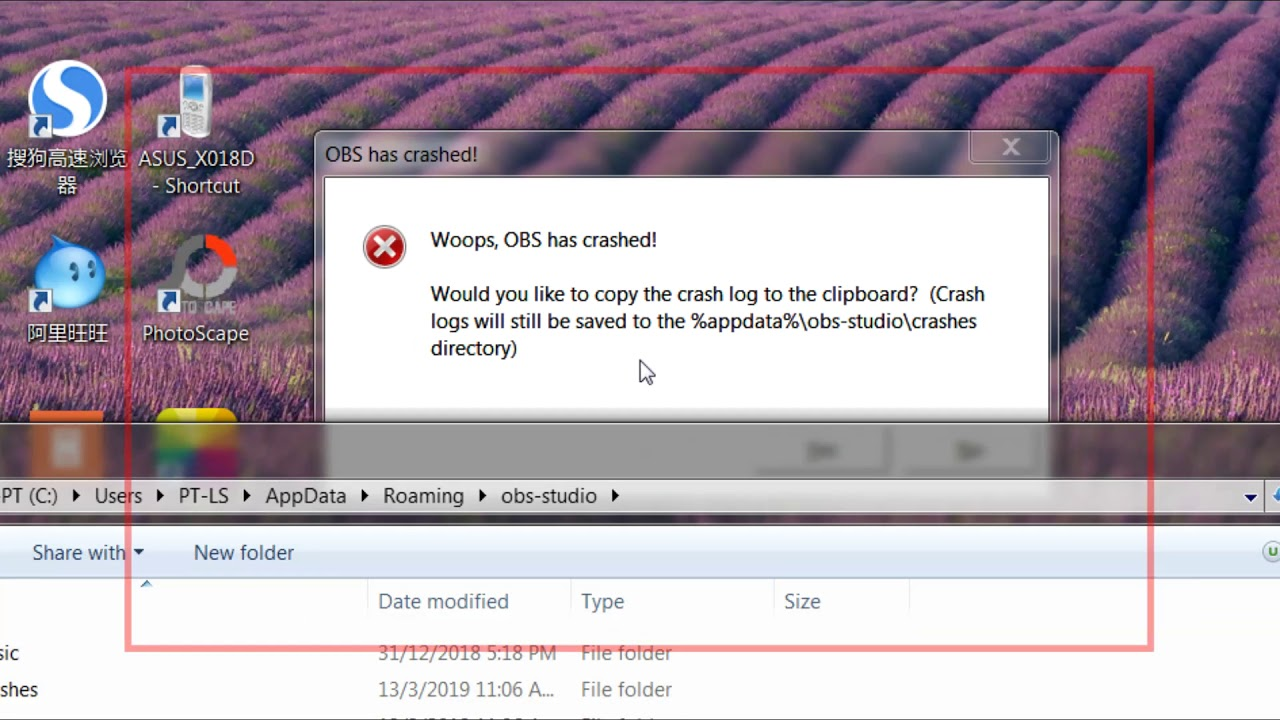 How to Fix `Woops, OBS has crashed` OBS Studio - by replacing  dll file