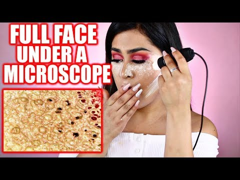 FULL FACE of Makeup UNDER A MICROSCOPE! OMG