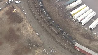 Aerial video: Train cars derail, fall over near Clark Avenue in Detroit