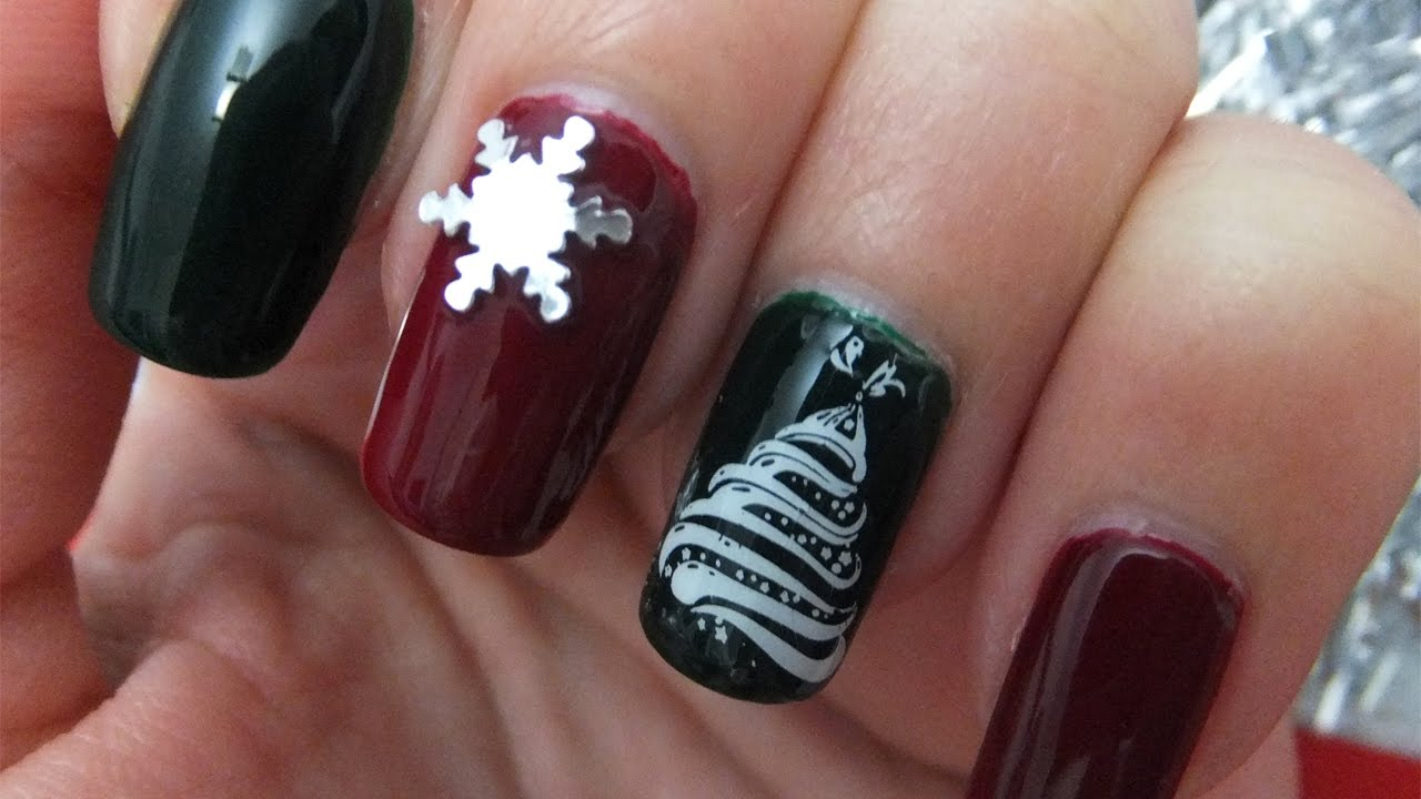 Red And Green Christmas Stamping Nail Art Design Tutorial Youtube