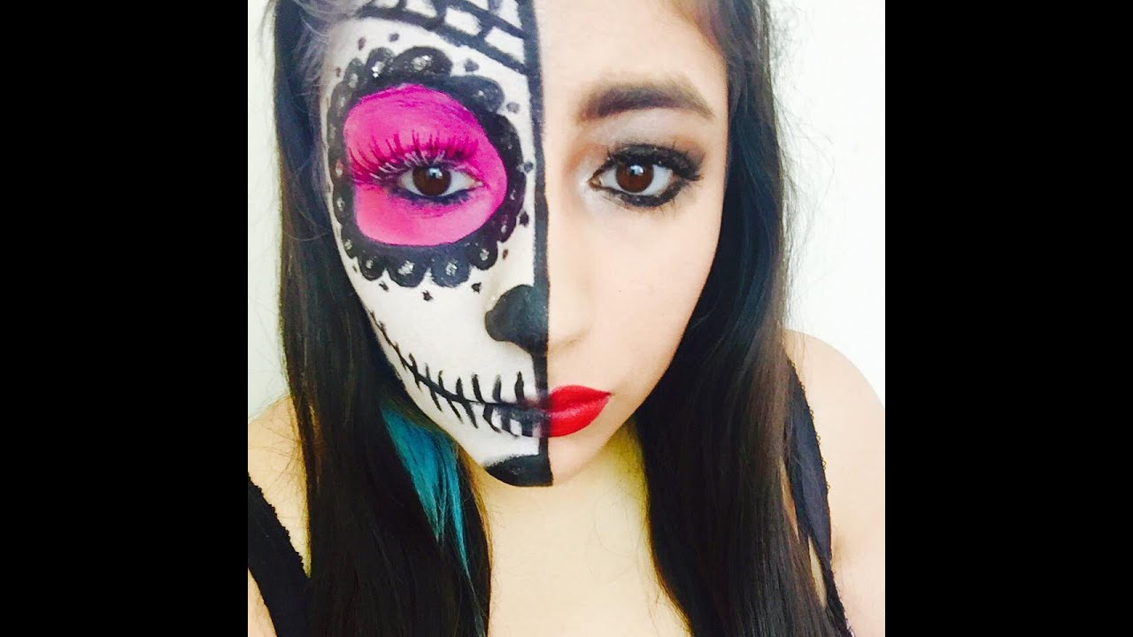Half Sugar Skull Face | Tutorial - YouTube
