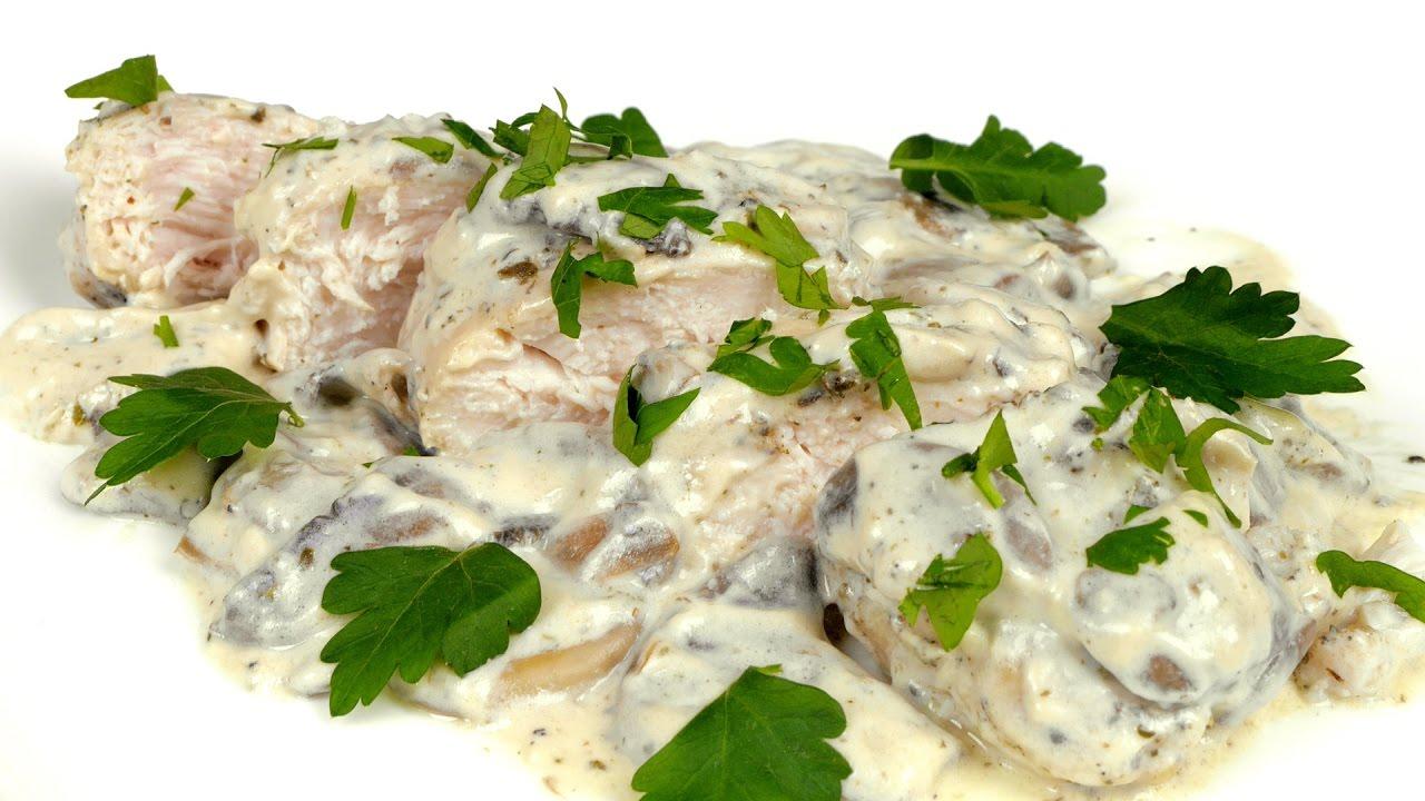 курица в сливочно грибном соусе рецепт с фото