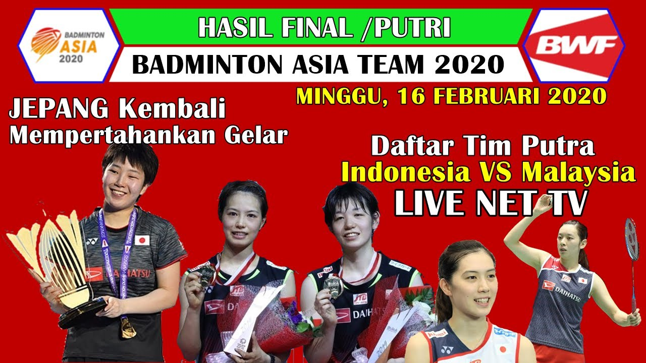 Hasil Final Badminton Asia Team Championship 2020 Jepang
