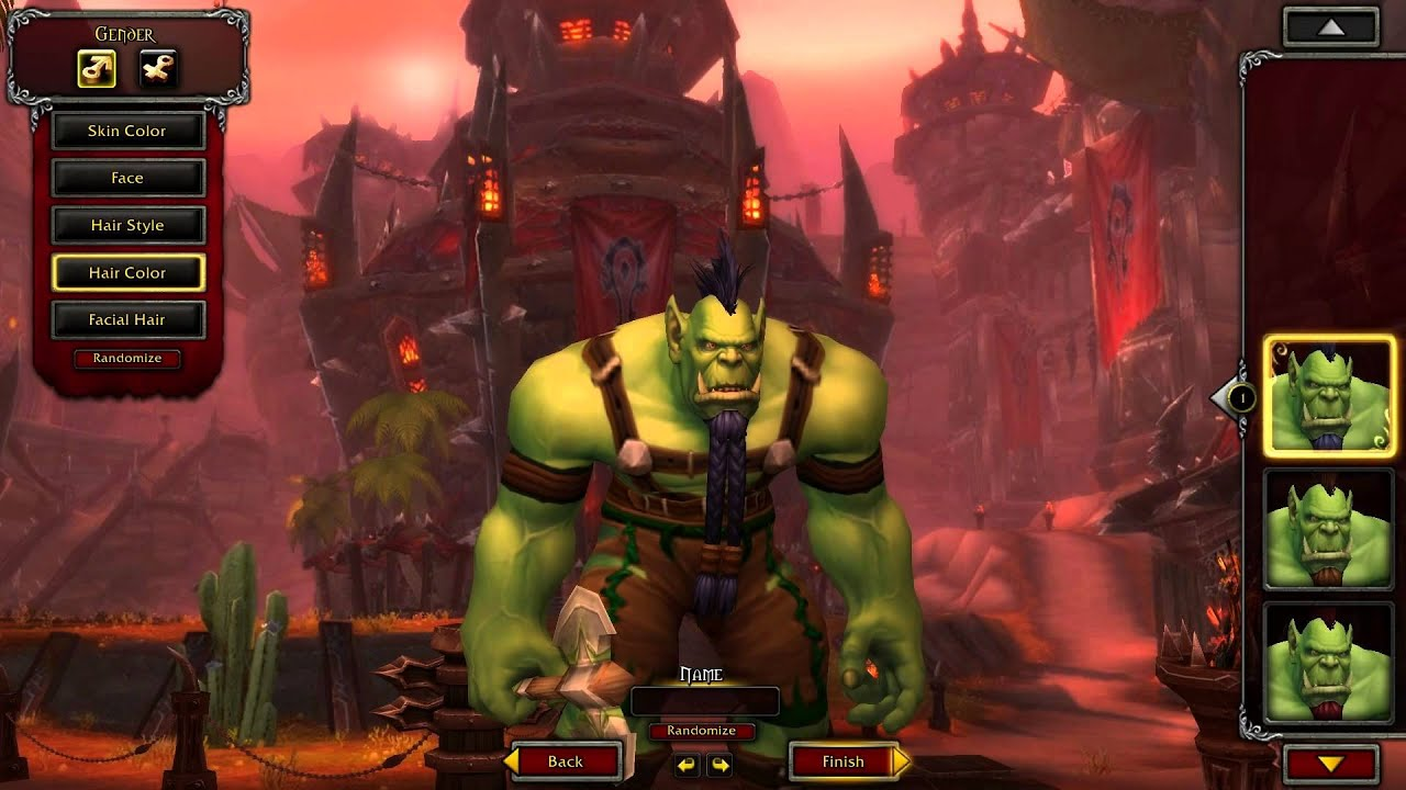 male orc character creation customization wow warlords