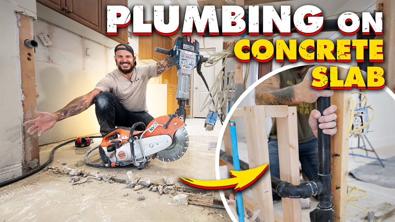 Download Plumbing On Concrete + JACK HAMMER IN KITCHEN || Concrete Slab House Reno (Ep.7)