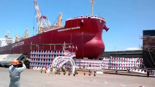 Cargo ship naming and first sail @ Tsunieshi