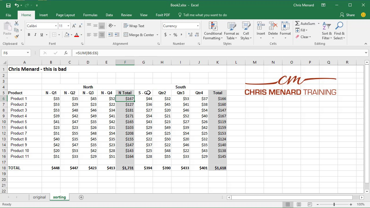 Fix header row before sorting and Auto Outline in Excel by Chris Menard