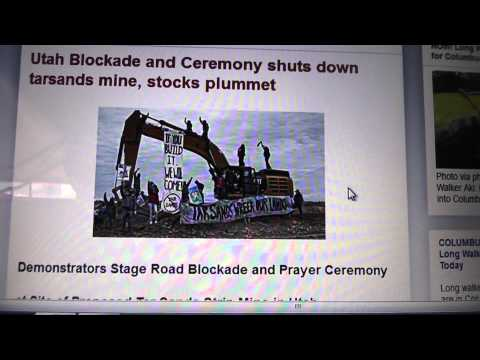 Awesome-Utah Blockade and Ceremony shuts down tarsands mine, stocks plummet