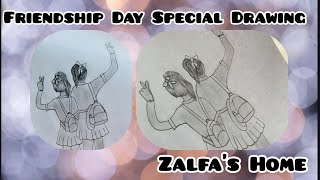 Friendship Day Drawing With Pencil Sketch//Draw School going Girls