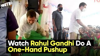 Watch Rahul Gandhi Do A One-Hand Pushup