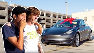 Surprising Best Friend with a New Tesla!