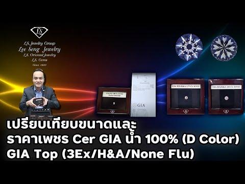 เปรียบเทียบขนาดและราคาเพชร CER GIA (3EX/H&A) น้ำ100% (D Color)