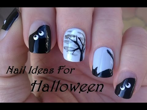 HALLOWEEN Nail Art For Short Nails: Black Cat, Tree