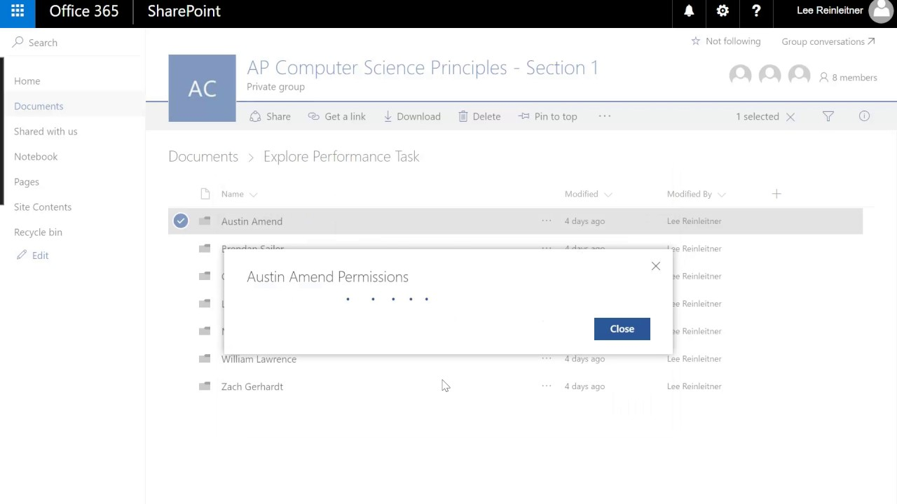 Microsoft Classroom and File Permission Management