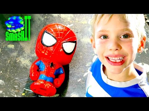 Crushing things with a hydraulic press: Spiderman & Monster Truck Toys Inside SmashIT SuperHeroKids