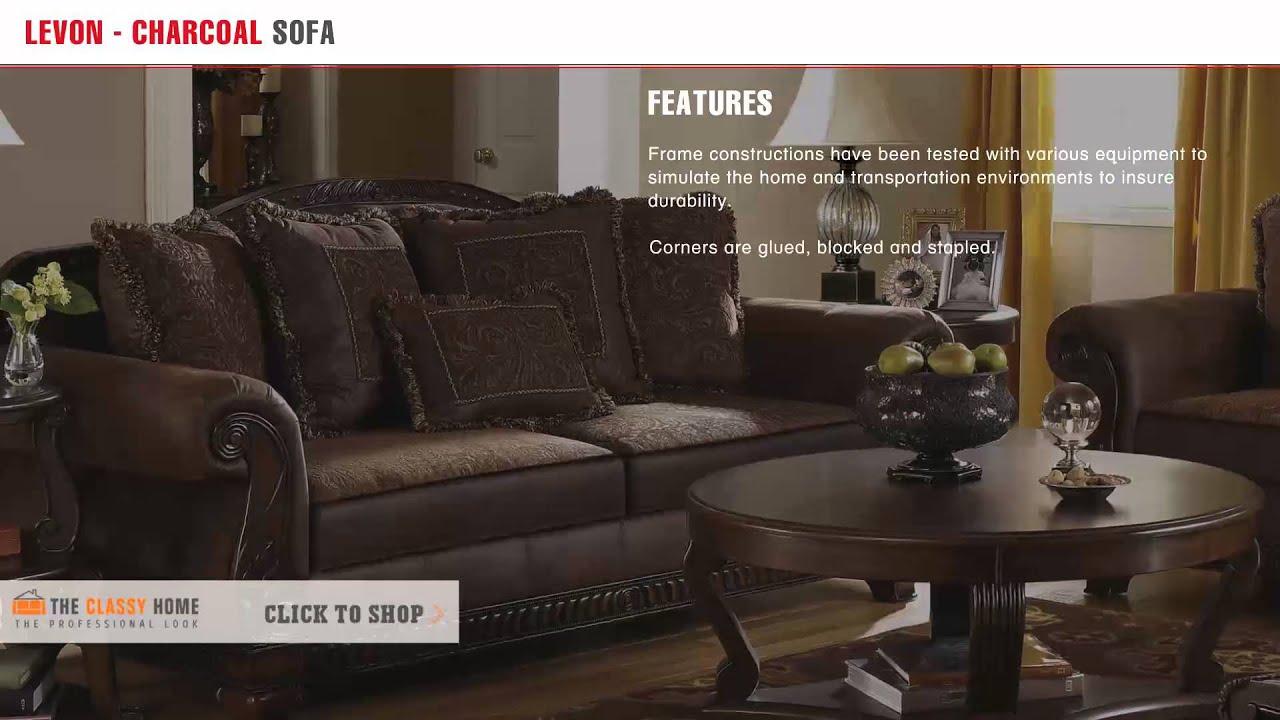 Ashley Furniture Bradington Traditional Truffle Fabric Sofa