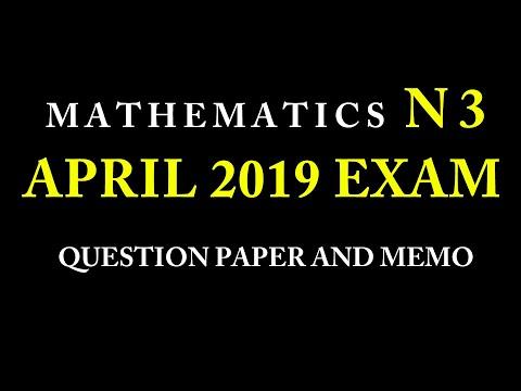 Mathematics N3 April 2019 Question Paper And Memo