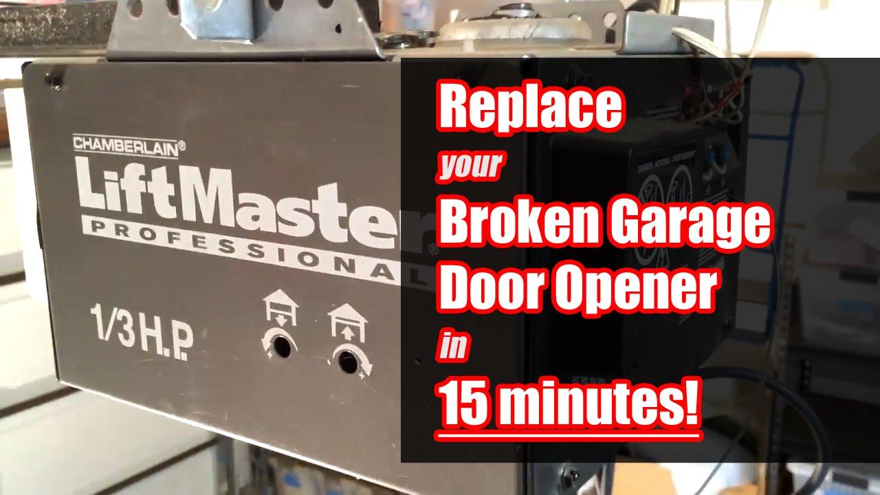 How To Replace Garage Door Opener In 15 Minutes Youtube
