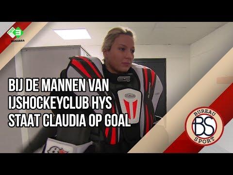 Mannen van ijshockeyclub HYS Hokij hebben Claudia van Leeuwen op doel!