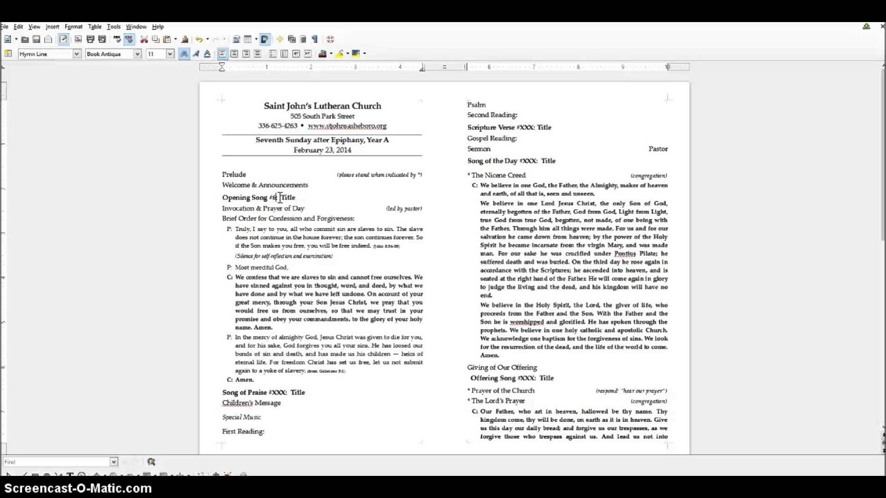how to make a church bulletin in word