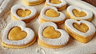 Valentine's Day Cookies with Lemon Curd | Limonlu Ürək peçenye resepti  | Heart cookies recipe