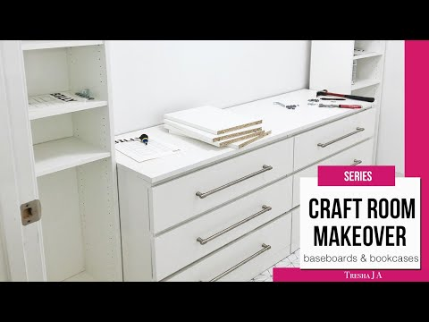 DIY Small Craft Room Makeover Ideas - Removing Baseboards/Installing IKEA Bookcases | Episode 2