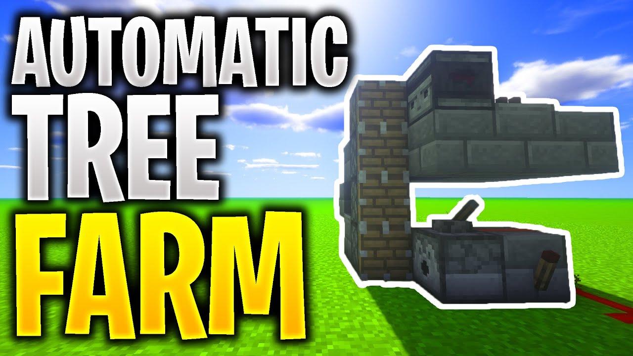 How to make an AUTOMATIC TREE FARM In Minecraft - YouTube