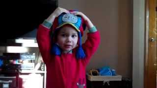 Liam gets a Thomas the train winter hat