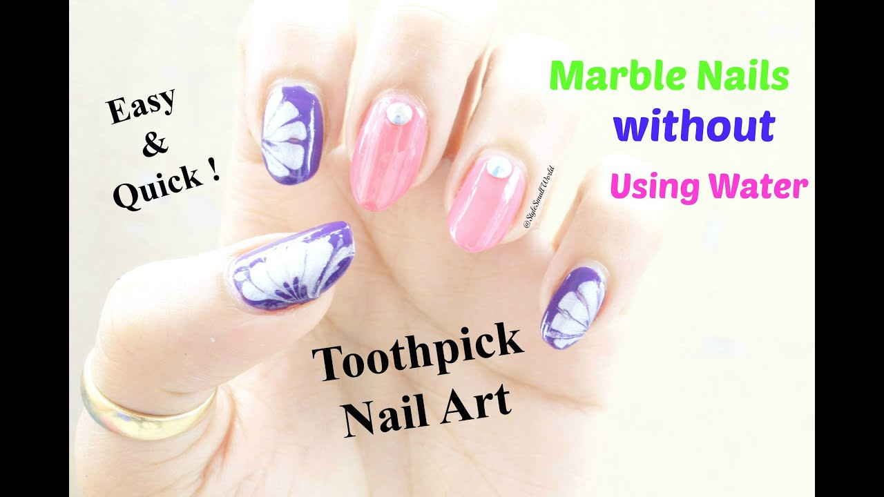 Marble Nail Art With Toothpick Nail Ftempo