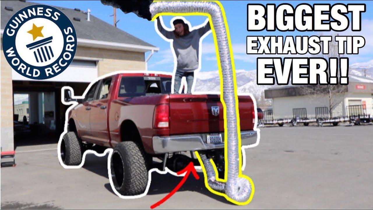 worlds biggest exhaust tip ever on my cummins