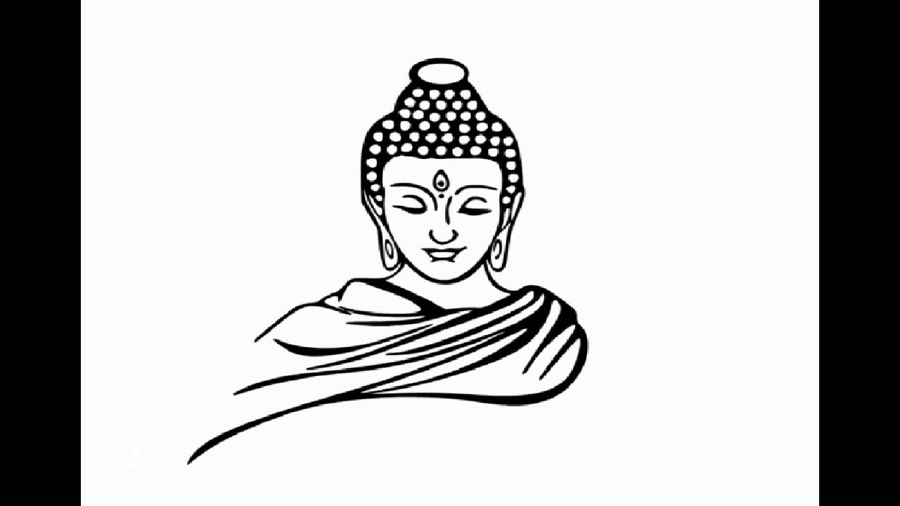 How to draw Gautam Buddha face pencil drawing step by step