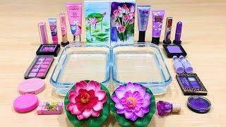 Purple vs Pink ! Flower - Mixing Makeup Eyeshadow into Clear Slime   Satisfying Slime Videos #592