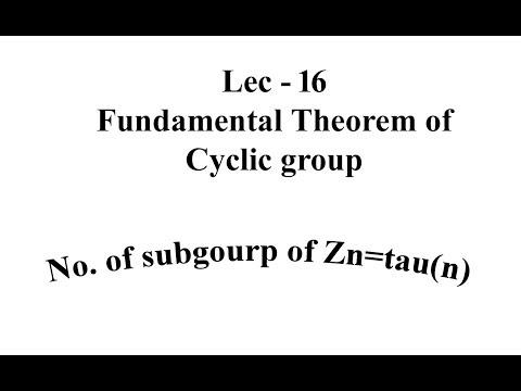Lec - 16 Fundamental Theorem of Cyclic group