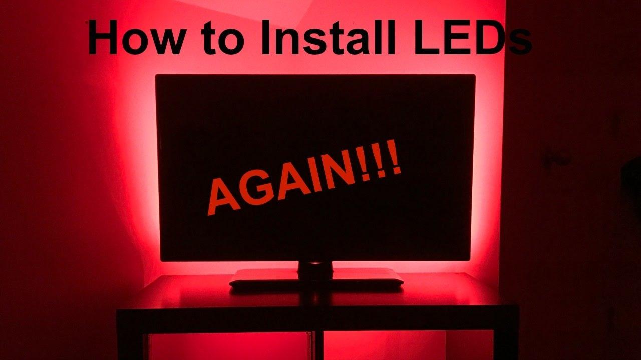 diy led light installation behind tv youtube