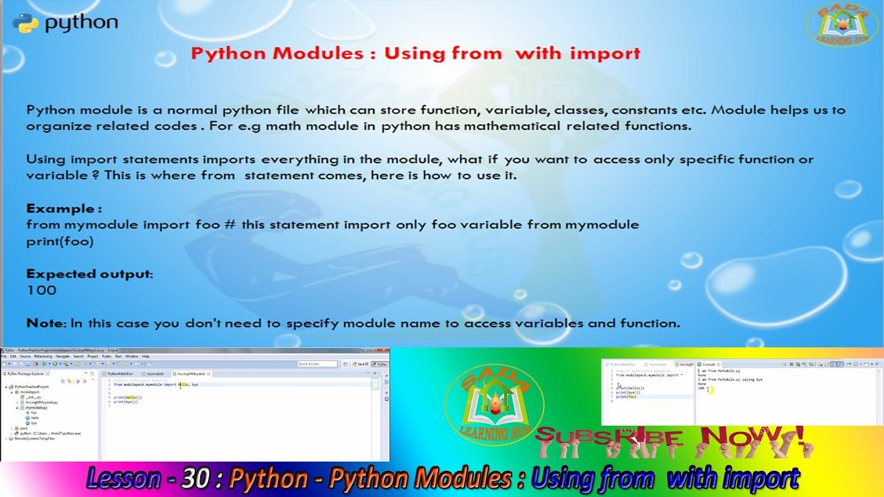 Lesson - 30 : Python3 - Python Modules : Using from with import