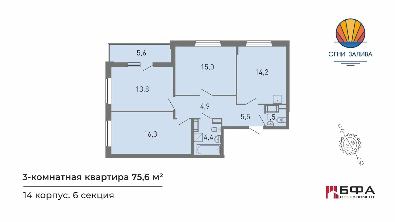 огни залива купить 1 комнатную квартиру