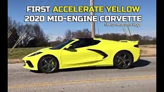 FIRST 2020 C8 MID ENGINE CORVETTE in ACCELERATE YELLOW PAINT