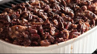Bourbon Raisin Bread Pudding With Candied Bacon & Pecans
