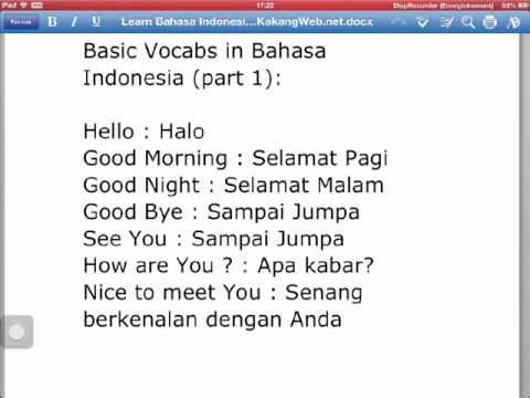 Learn Bahasa Indonesia with KakangWeb.net for free -- Daily words --