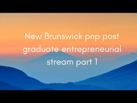 new Brunswick pnp post graduate entrepreneurial stream part 1