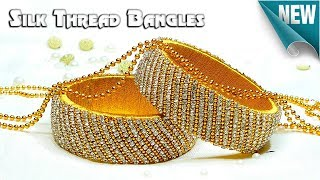 How To Make Beautiful Silk Thread Bangles Using Stone Chain, Gold Ball Chain