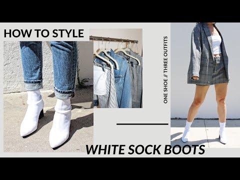 Zara White Sock Ankle Boots