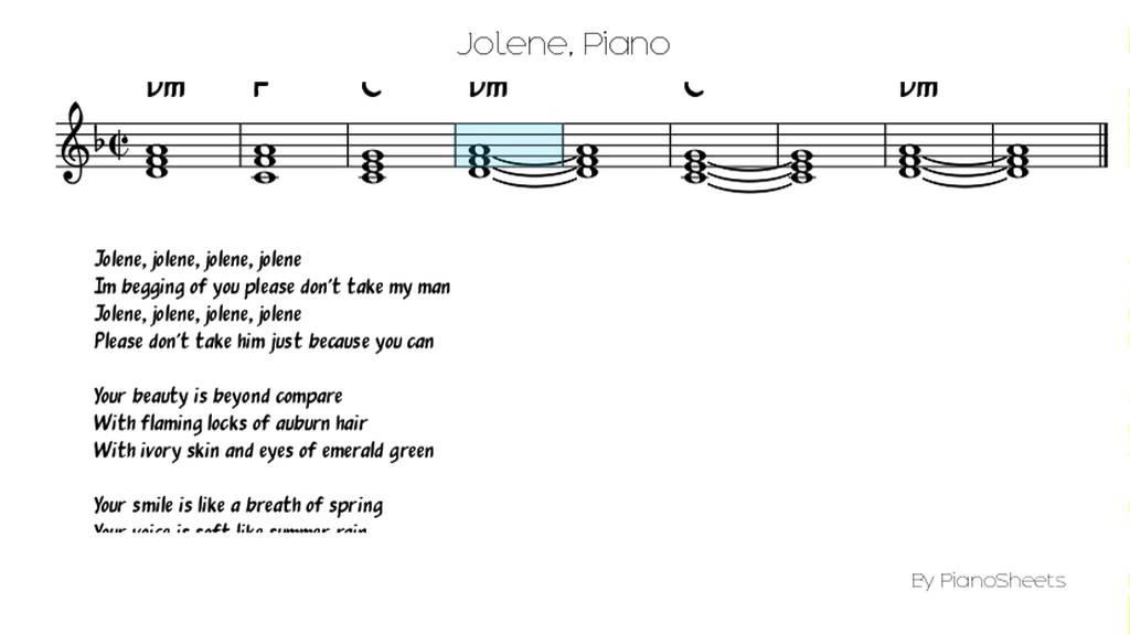 Jolene Piano Solo Youtube