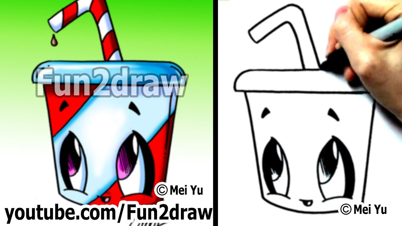 Kawaii Food - How to Draw Kawaii EASY - Soda pop drink ...